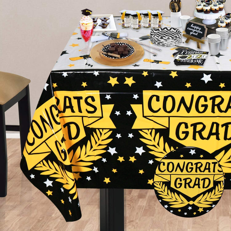 Graduation Tablecloths 3 Pack Large Size Plastic 54x108 Congrats Grad Graduation Party Tablecover Decorations for Class of 2021