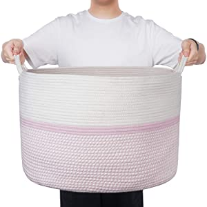"""XXL Extra Large Cotton Rope Woven Basket, Throw Blanket Storage Basket with Handles, Pink Decorative Clothes Hamper - 22"""" x 22"""" x 14"""""""