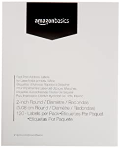 "AmazonBasics Fast Peel Address Labels for Laser/Inkjet Printers, White, 2"" Round, 120 Labels"