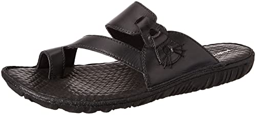 33621a2f393b Hush Puppies Men s Toe Ring Harlet Black Leather Flip Flops Thong Sandals -  7 UK