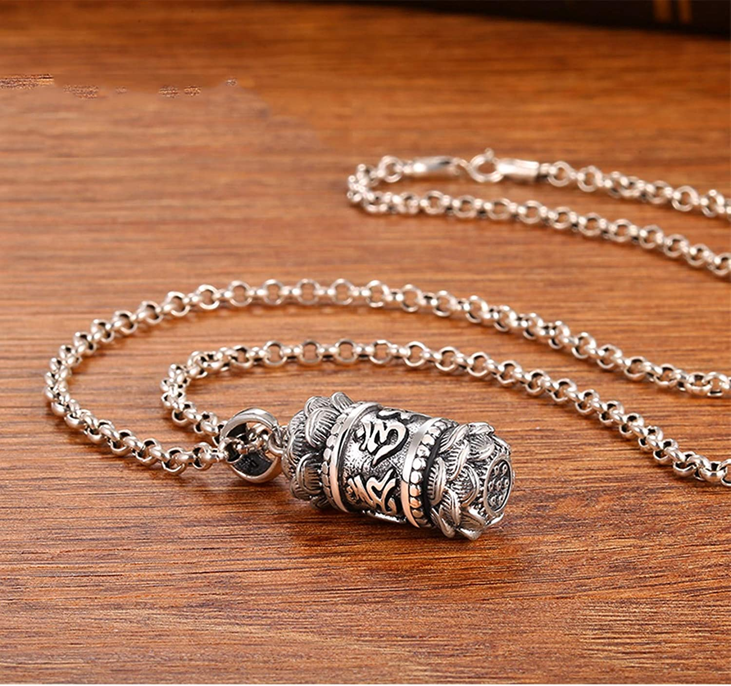 AMDXD Jewelry Sterling Silver Pendants for Men Buddhist Mantra Pendant with Shurangama Mantra Vintage Pendant Jewelry