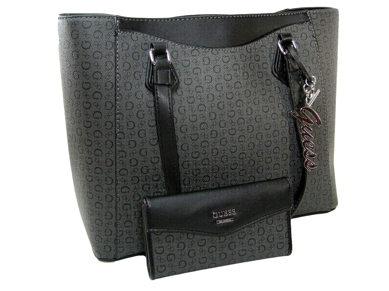 fab79f9d36b Amazon.com  New Guess G Logo XL Purse Hand Bag Tote   Wallet Set 2 Piece  Matching Coal Black  Shoes