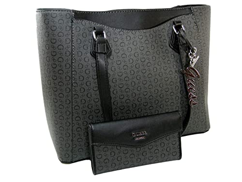 f4ac8653a50 Image Unavailable. Image not available for. Color  New Guess G Logo XL Purse  Hand Bag Tote   Wallet Set 2 Piece Matching Coal