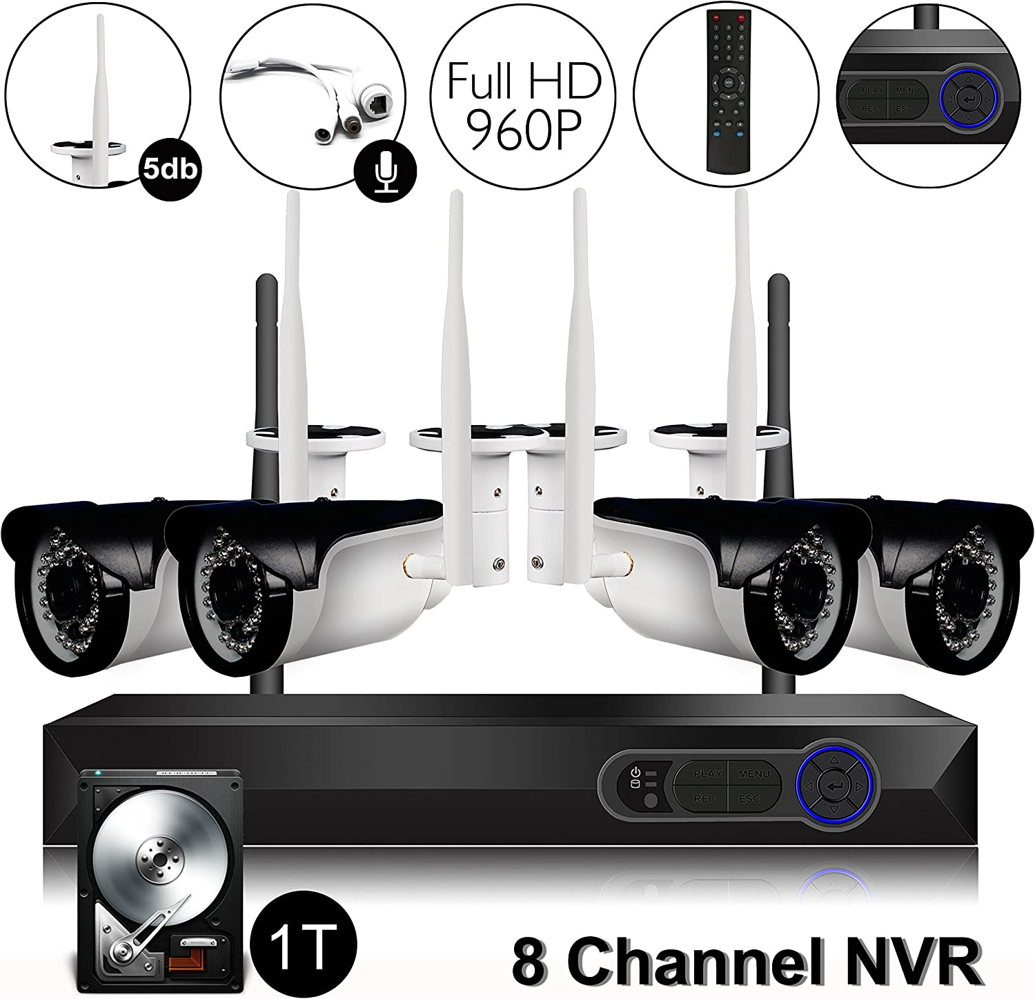 CAMVIEW Wireless Security Home Surveillance System Expandable 8CH 960P WiFi NVR 4Pcs 1.3MP 960P Wireless IP CCTV Cameras, Audio-in Plug, 65FT Night Vision, Waterproof, 1TB HDD Pre-installed