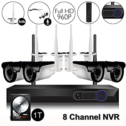 CAMVIEW Wireless Security Home Surveillance System Expandable 8CH 960P WiFi  NVR + 4Pcs 1 3MP 960P Wireless IP CCTV Cameras, Audio-in Plug, 65FT Night