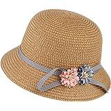 99e873142a9a7 GEMVIE Sombrero Gorro Paja Niñas Pescador Ala Ancha Sol Verano Flores  Elegante Circunferencia 52cm Rosa