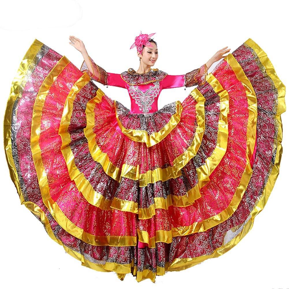 Rose rouge skirt 360 Wgwioo Femmes Adulte Robe De Flamenco Robes De Danse D'Ouverture Nationale Ambiance Scène Perforhommece Costume Big Swing 180 360 540 720 Chèvre Devert XL