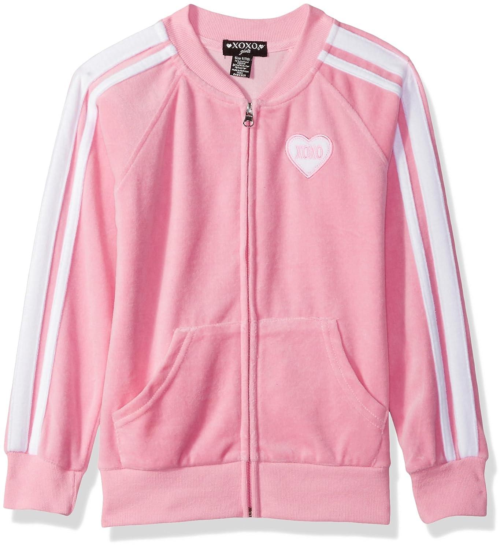 XOXO Girls Big Velour Zip Front Jacket