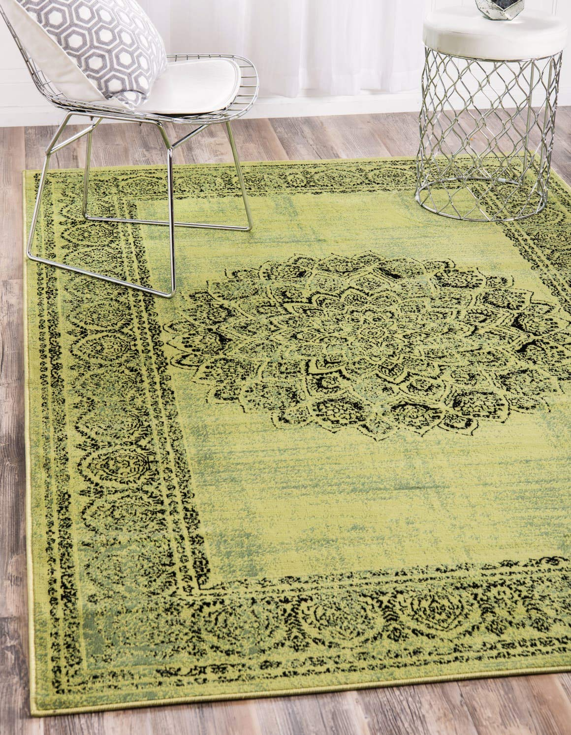 Unique Loom Imperial Collection Modern Traditional Vintage Distressed Sage Green Area Rug 5 0 x 8 0