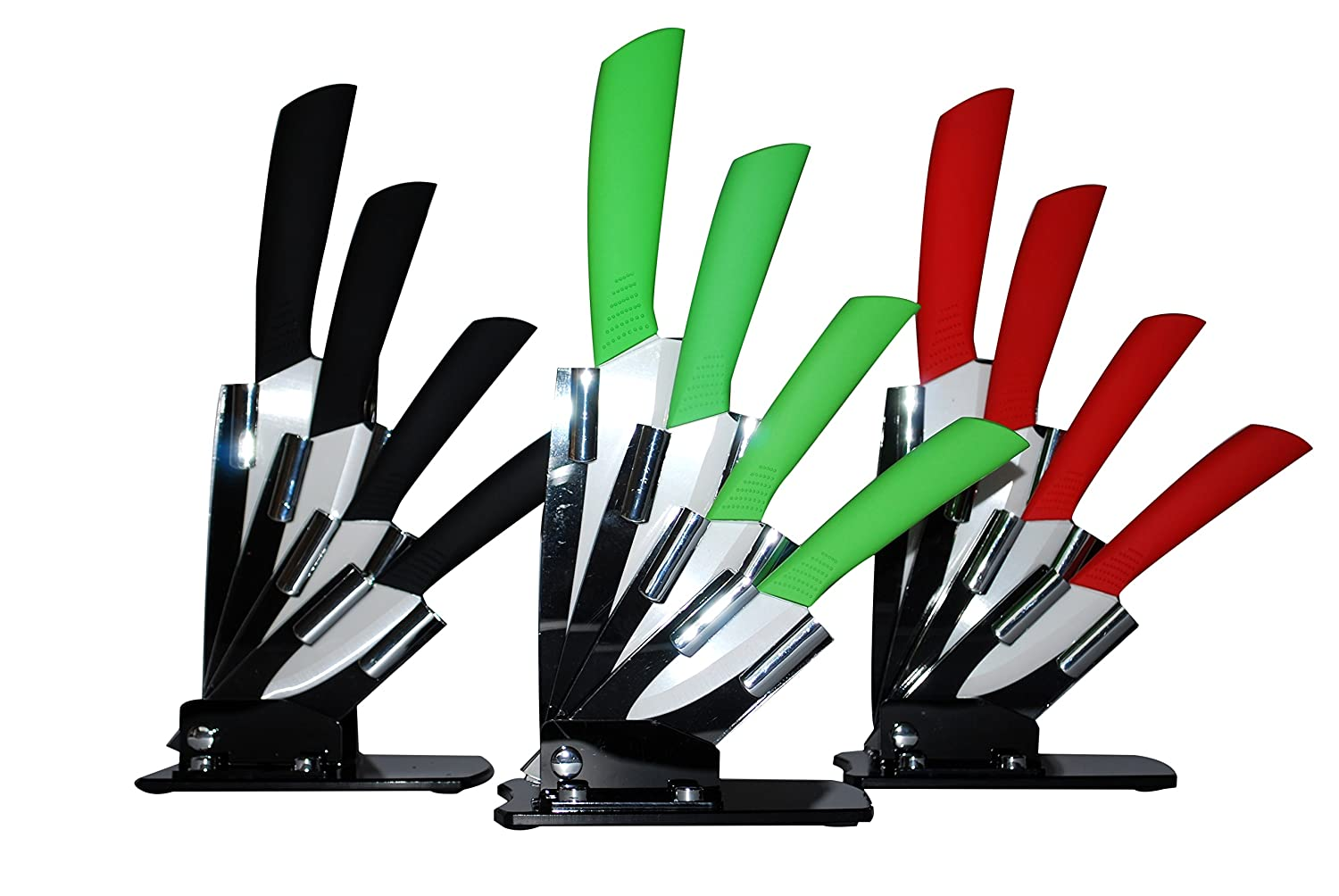 5psc Ceramic Knife Set Kitchen Block Stand Holder and 4 knifes (Black)