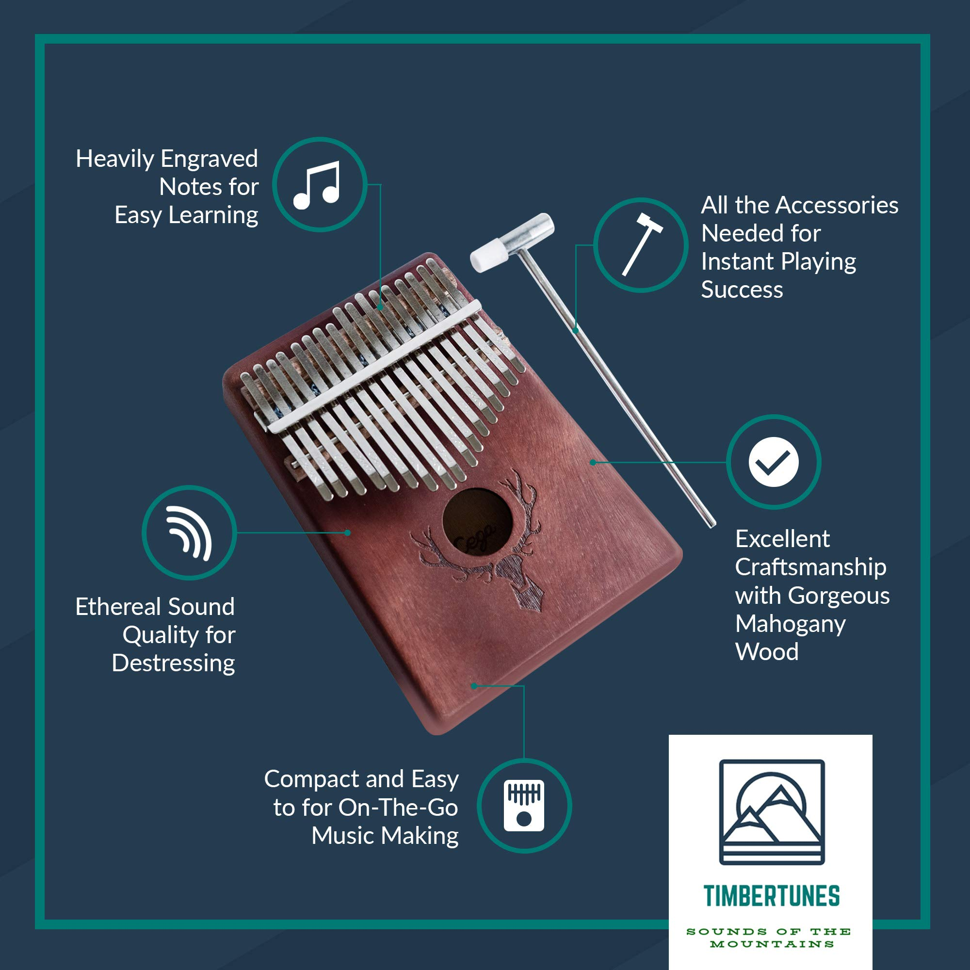 TimberTunes 17 Key Kalimba Thumb Finger Piano Therapy Musical Instrument for Adults Children, Solid Mahogany Wood, Engraved Elk Antler,Tuning Hammer and Music Book, Engraved Keys, Velvet Case, Unique by Timbertunes (Image #4)
