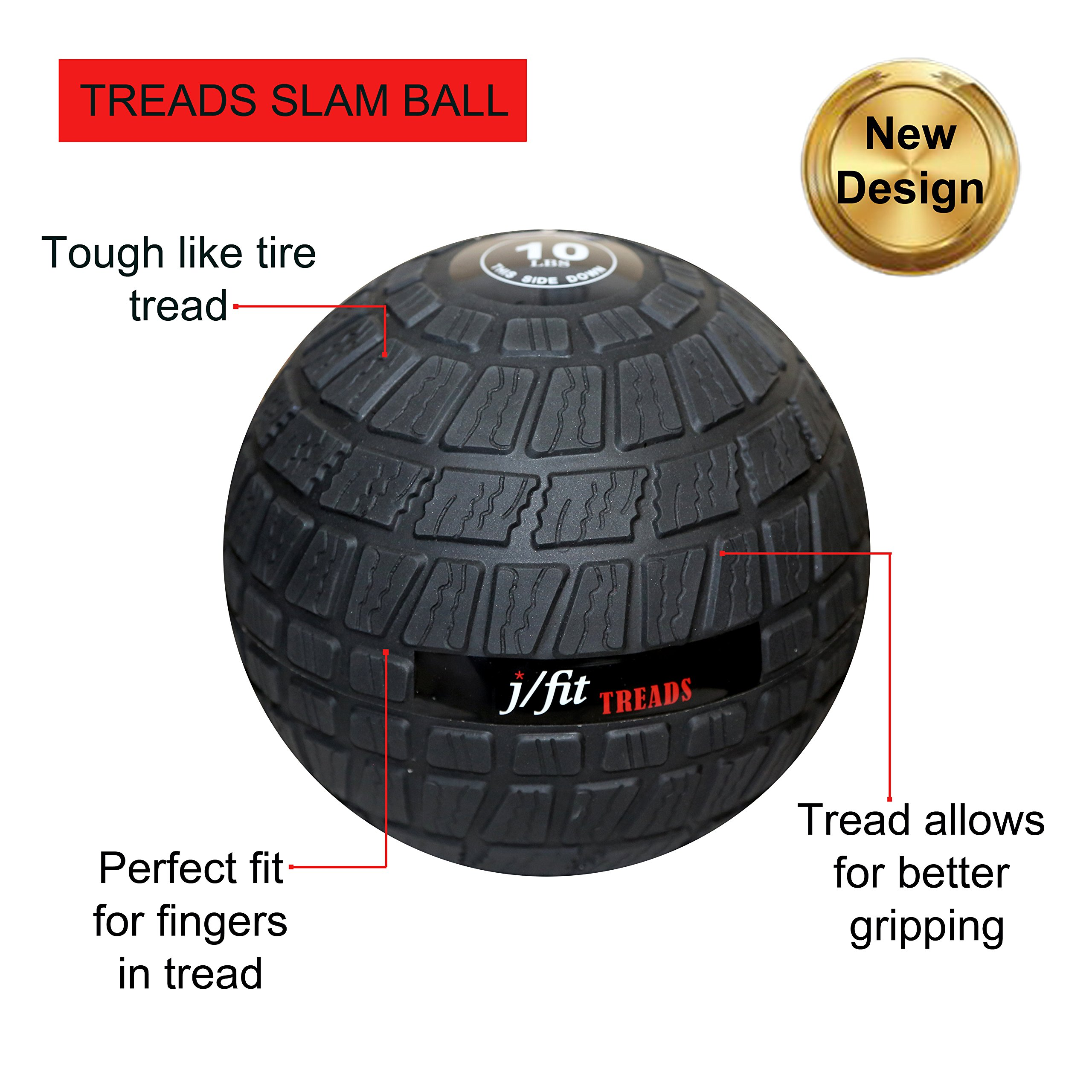 j/fit TREADS Dead Weight Slam Ball with Easy-Grip Textured Surface, 45 lb by j/fit (Image #3)
