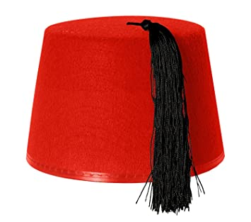 e36e2caa476aa 1x RED KUKI FEZ HAT FANCY DRESS ACCESSORY WITH BLACK TASSEL - FELT HAT FOR  MEN