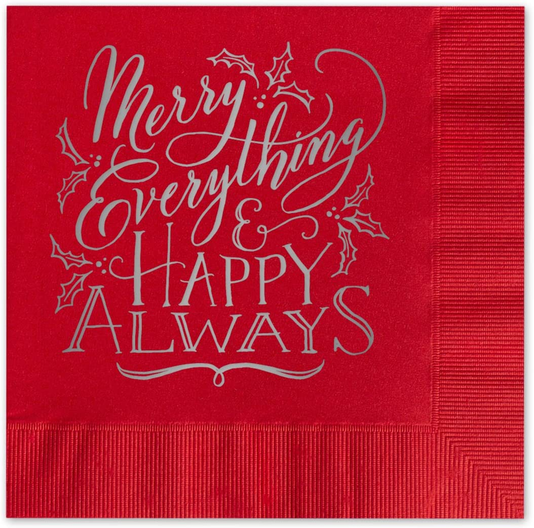 Canopy Street Merry Everything Beverage Cocktail Napkins / Set Of 25 Holiday Red 3 Ply Paper Napkins With Silver Foil