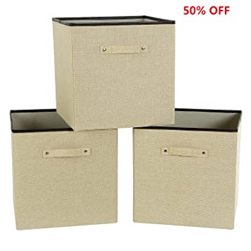 Home & Garden Store Clothing & Wardrobe Storage Lifewit Set of 3 Storage Box Large Cube Toys Storage Boxes Polyester Linen Clothes Drawer Organizer Books Containers 33 x 33 x 33 cm