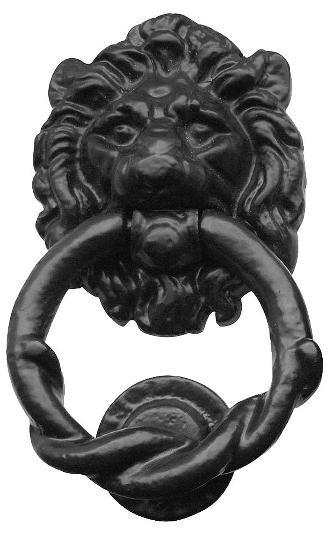 AX13 Cabeza de le/ón aldaba en negro de hierro fundido