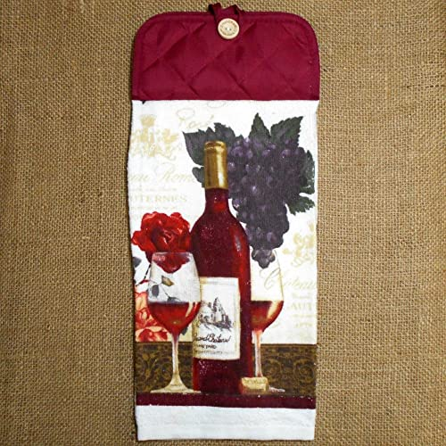 Amazon.com: Rose Wine and Grapes Hanging Dish Towel, Kitchen ...