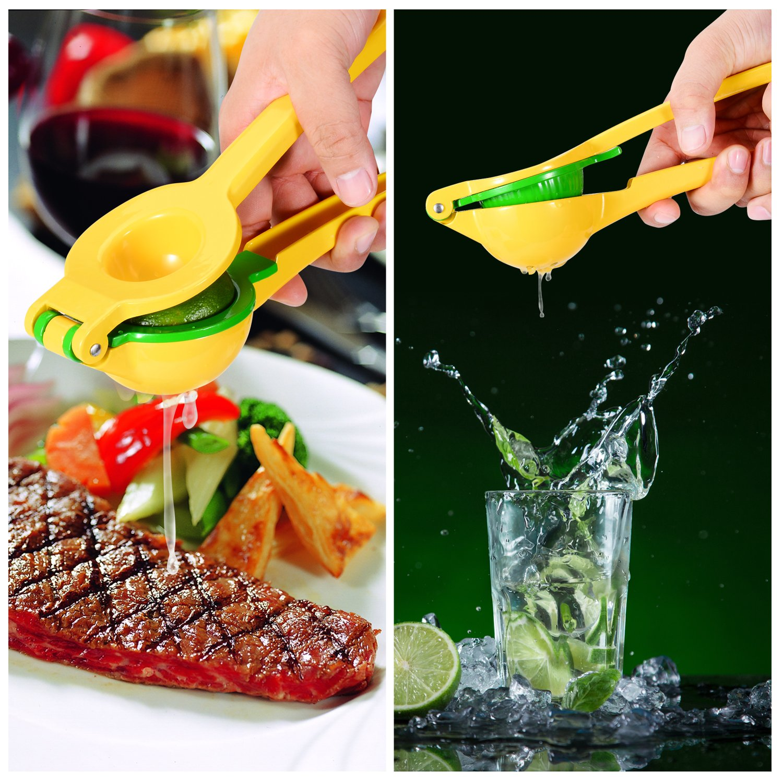 Garlic Press Citrus Squeezer Zester Kitchen Utensil Set 3-pack Premium Metal Lemon Lime Press Juicer Stainless Steel Professional Garlic Ginger Smasher Cheese Grater SOLLITIC