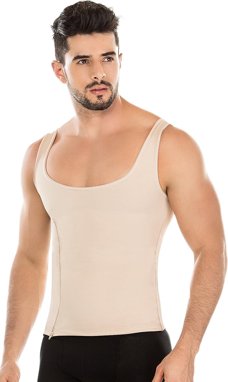 Fajas Mans Abs Top Shapewear Vest Zipper Back Support Faja Colombiana