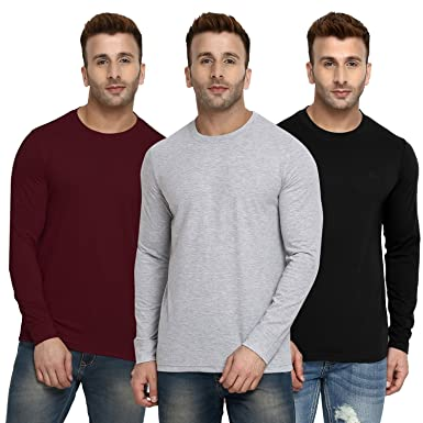 ab2bc663a CHKOKKO Plain Full Sleeve Cotton Casual Solid Crew Round Neck T Shirts for  Men 3XL Size Maroon LightGrey Black  Amazon.in  Clothing   Accessories