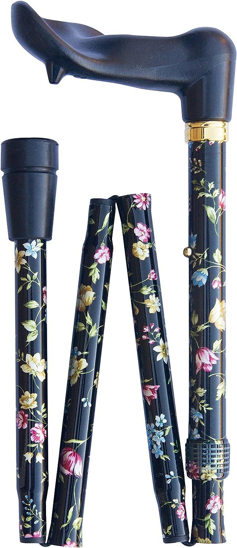 Bastón ortopédico plegable ajustable de lujo (82-92 cm), color negro floral derecho 4671R