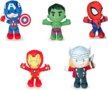 Los Vengadores (The Avengers - Marvel) - Pack 5 peluches Calidad super soft: Hulk 21cm + Ironman 22cm + Capitan America 21cm + Thor 21cm + Spiderman 21cm: Amazon.es: Juguetes y juegos