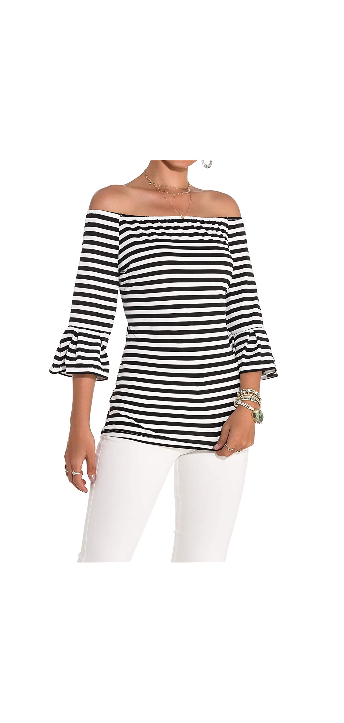 Women's Off Shoulder Tops Stretch Flared   Sleeve T