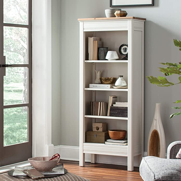 "60"" Savannah Tall Bookcase Ivory With Natural Wood Top - Bolton Furniture"