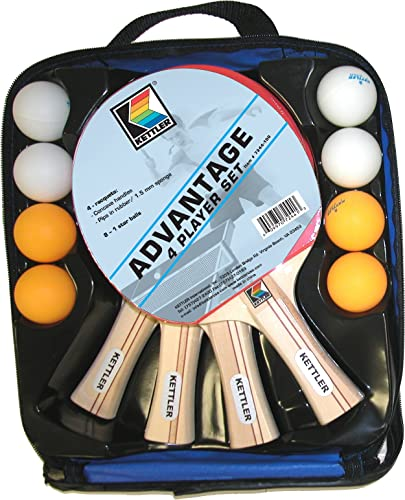 Kettler Advantage Indoor Table Tennis Bundle 4 Player Set 4 Rackets Paddles and 8 Balls
