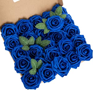 LuLuHouse 25pcs Artificial Flower Foam Rose Royal Blue Real Touch Roses Flower Heads with Stem for DIY Wedding Bouquets Centerpieces Arrangements Party Baby Shower Home Decor (25, Royal Blue)