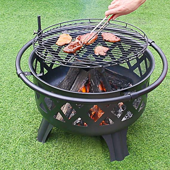 Braciere AllAperto Braciere per Barbecue Dawoo Braciere Rotondo a Legna Aspetto Pietra Resistente allAcqua e Antigelo Adatto per Barbecue AllAperto Terrazza da Picnic Cortile Campeggio