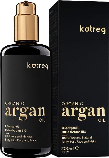 KATREG Aceite de Argán Orgánico Argan Oil - Aceite Natural, Hidratante y Nutritivo para Piel, Cabello, Uñas - Prensado en Frío Marruecos - Rico en Vitamina E y Antioxidantes - 200ml: Amazon.es: Belleza