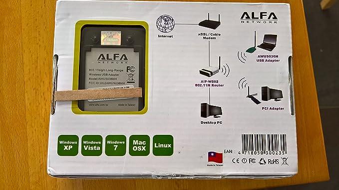 Alfa Network AWUS036NH 2000mW Antena Wifi USB. Incluye Soporte con Ventosa + Clip