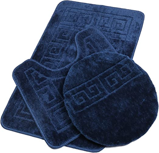 3 Piece Premium Polypropylene Bath Rugs Set with Blocks Design Navy Blue