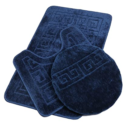 "Amazon.com: Pauwer Bath Rug Sets 3 Piece for Bathroom Non Slip Bath Mat Set Washable Bath Rug Set Pattern 28.4""x17.7""/Contour Mat 17.7""x17.7""/ Lid Cover ..."