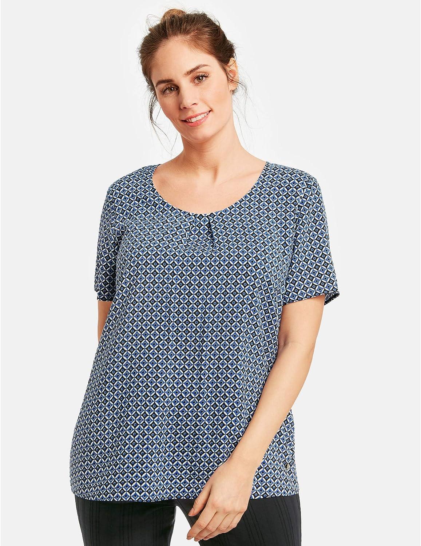 Samoon Damen Blusenshirt Mit Allover-Print Leicht Ausgestellt, Legere Passform Estate Blue Gemustert
