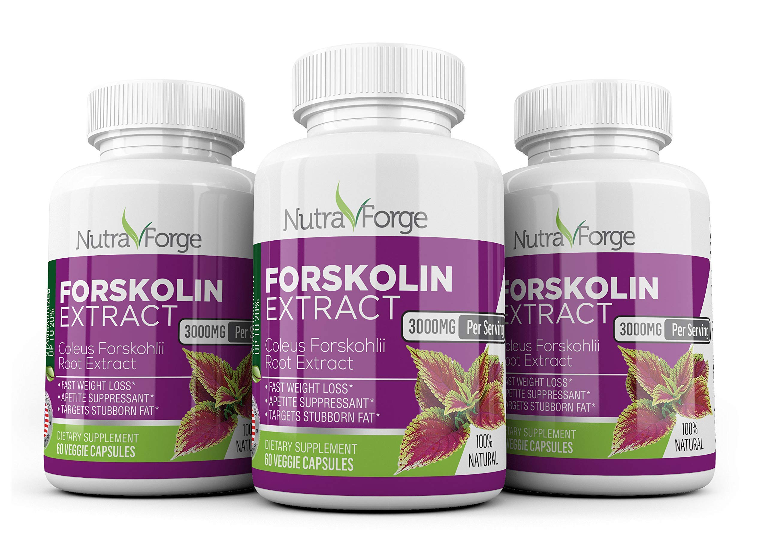 Pure Forskolin 3000mg Max Strength - Forskolin Extract for Weight Loss - Premium Appetite Suppressant, Metabolism Booster, Carb Blocker & Fat Burner for Men and Women - 3 Pack by Nutra Forge (Image #1)