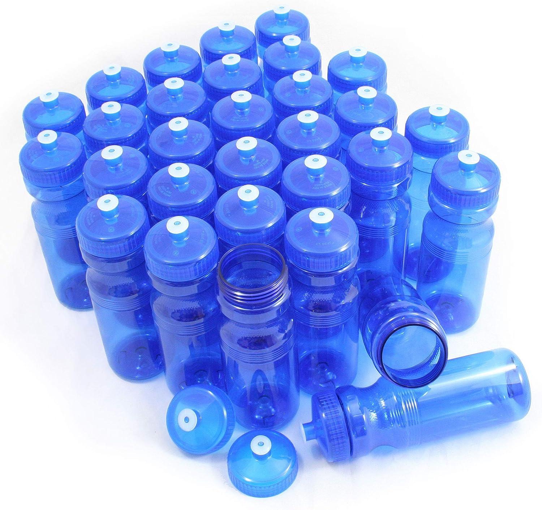 100 Bulk Pack 28 Ounce Teal Water Bottles Lids USA Made
