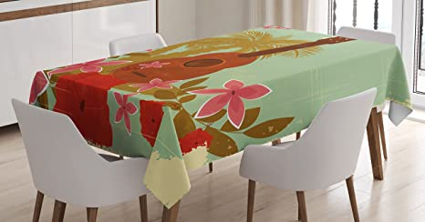 Amazon Com Lunarable Vintage Hawaii Tablecloth Soft Colored Poster Design Musical Instrument Hibiscus And Tropical Flowers Rectangular Table Cover For Dining Room Kitchen Decor 60 X 90 Almond Green Home Kitchen