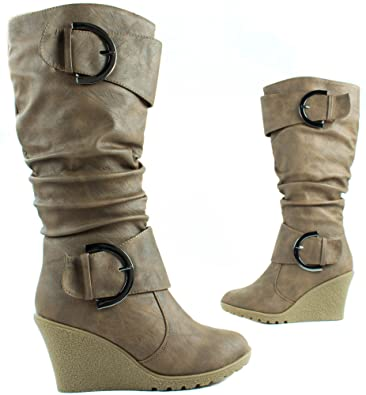 c87751b5845e Top Moda Shoes Women s Pure-65 Cognac High Heel Knee Height Boots with  Buckle Straps