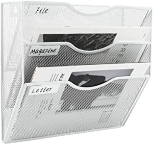 EasyPAG 3 Tier Wall File Holder Hanging Mail Organizer Meta Wall Mount Magazine Rack for Home and Office,White
