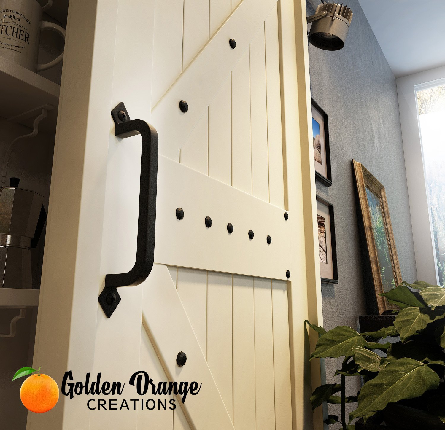 9-3/4'' Antique Barn Door Pull Handle with 2 Matching Black Screws - for Custom and Luxury Sliding Barn Doors, Pantry, Closet, Furniture, Garage, Gate, Shed - Solid Cast Iron Hardware Handle by Golden Orange Creations (Image #10)