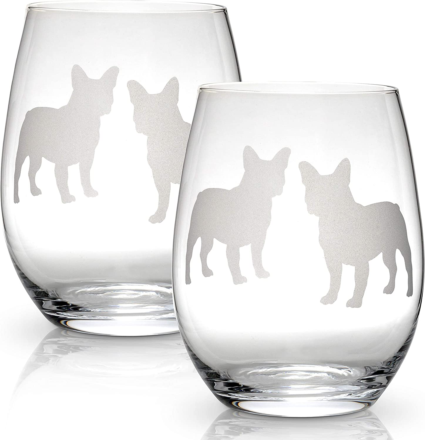 Boston Terrier Stemless Wine Glass (Single Glass) | Unique Gift for Dog Lovers | Hand Etched with Breed Name on Bottom