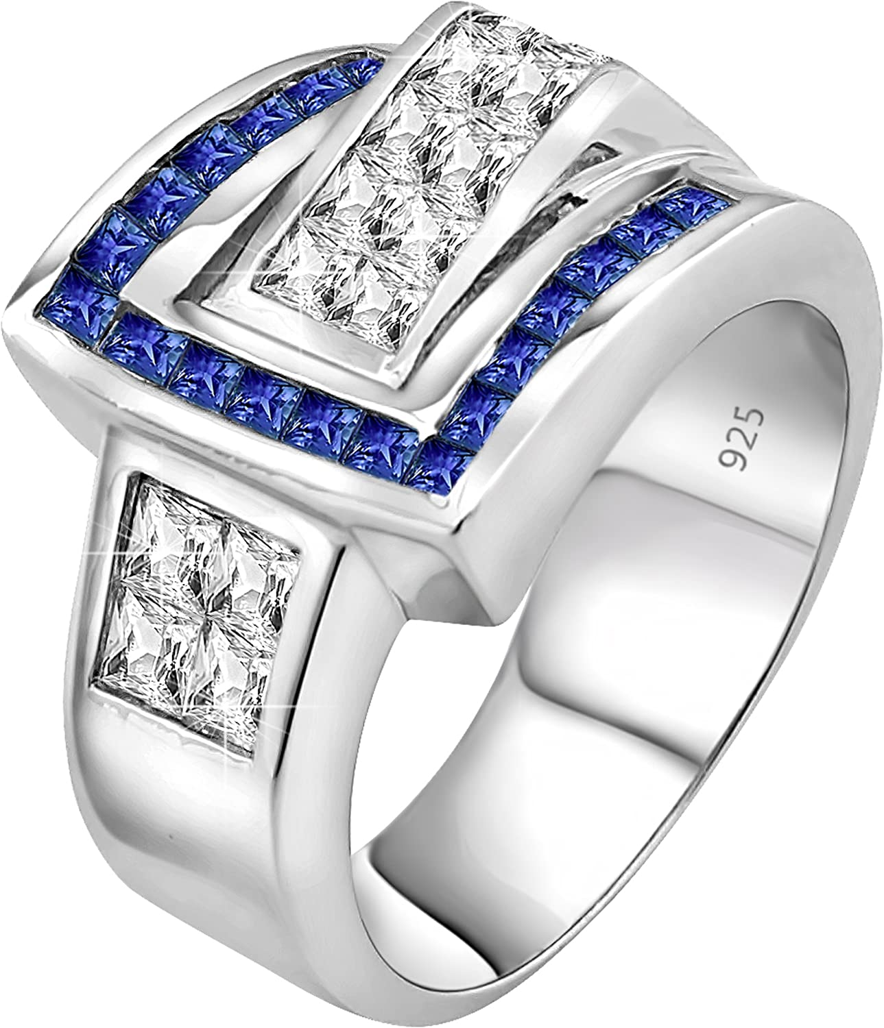 Mens Sterling Silver .925 Ring Featuring Invisible and Channel Set Blue and White Cubic Zirconia Stones Platinum Plated Jewelry