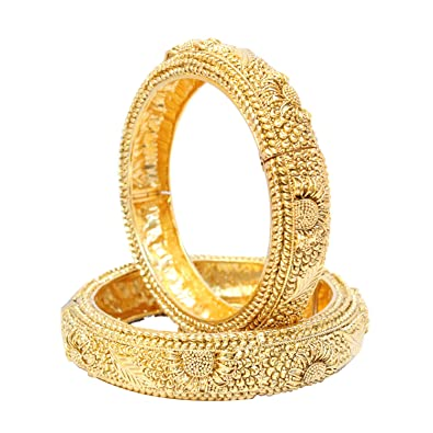 Jewelry & Watches 18k Gold Plated Fashion Bangle Bracelet Open Screw Bangles Set Of 2 Ethnic Style
