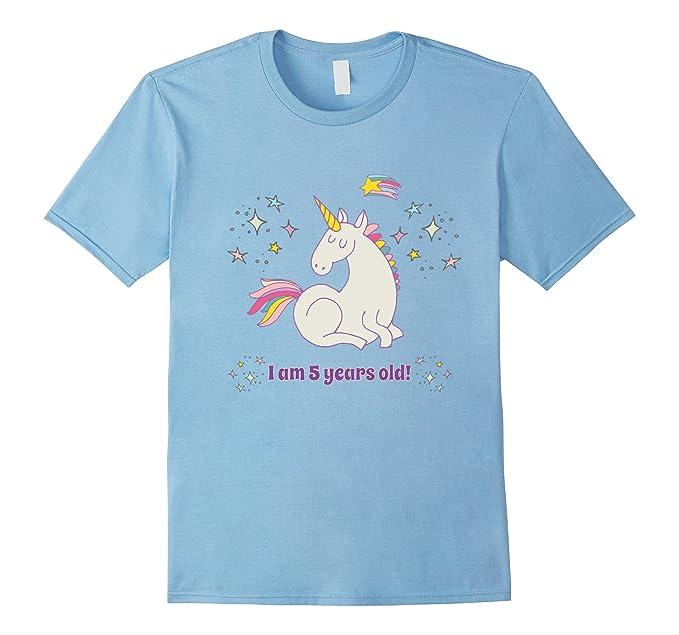Mens Unicorn Rainbow Birthday Shirt 5 Five Year Old Girl Boy PJ 3XL Baby Blue