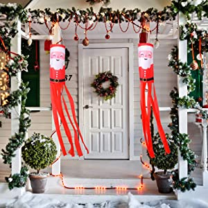 2 Pieces Christmas Windsock Santa Claus Windsock Santa Outdoor Hanging Windsocks Winter Decorative Fabric Wind Sock for Tree Decorations Front Yard Porch Patio Lawn Garden Party