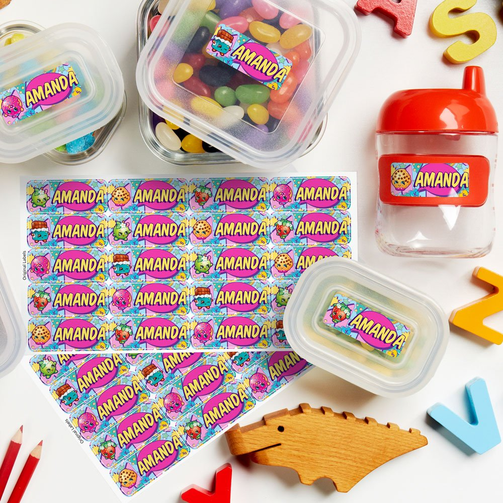 Shopkins Theme Original Personalized Peel and Stick Waterproof Custom Name Tag Labels for Adults, Kids, Toddlers, and Babies – Use for Office, School, or Daycare