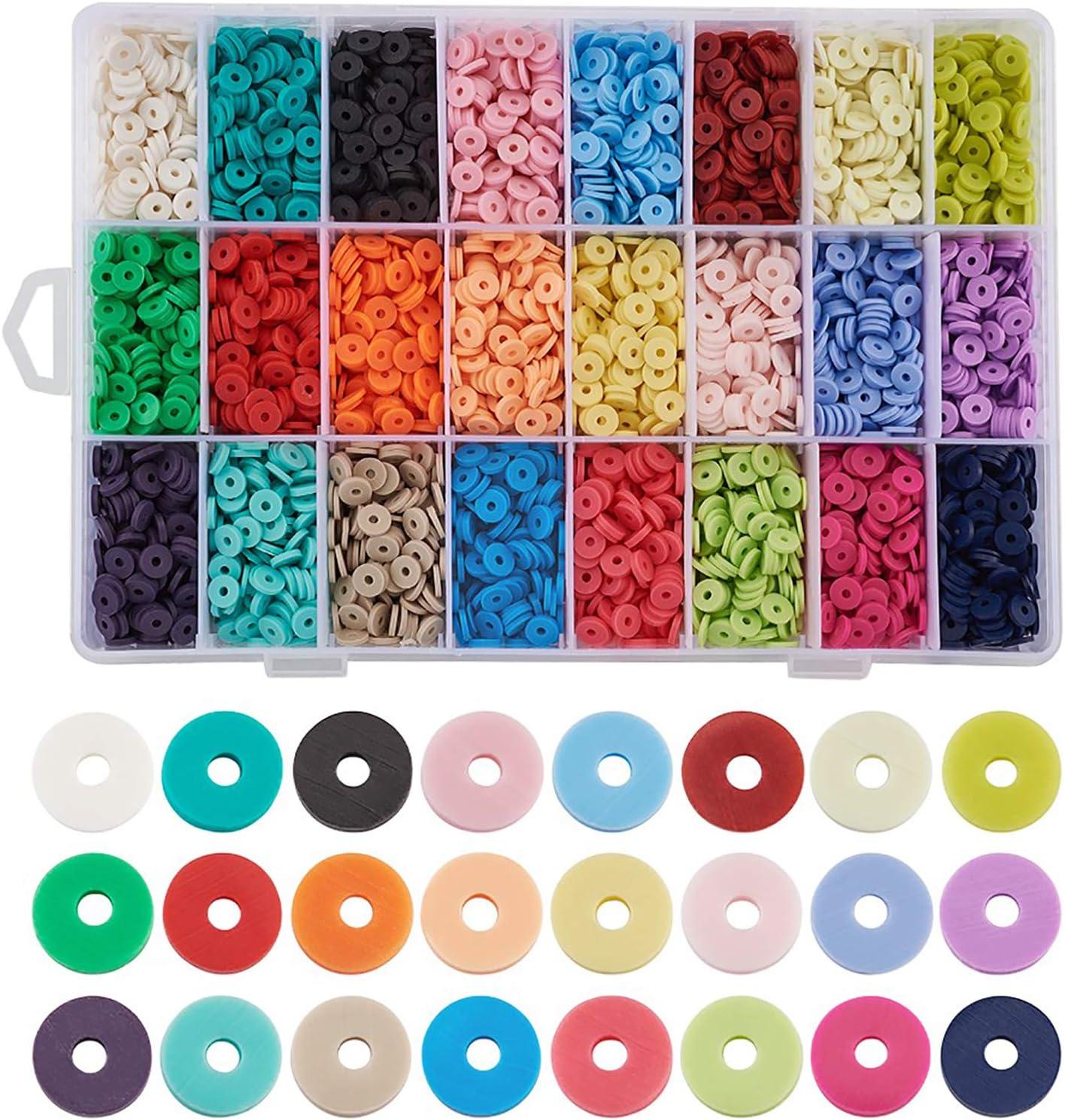 Cheriswelry Cuentas Arcilla Polimerica Redondas 6mm 24 Colores Hechos a Mano Espaciador de Discos Para Collares Pulseras Pendientes Joyería