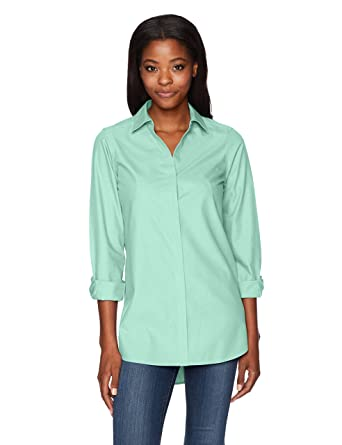 6d719293 Foxcroft Women's Vera Solid Non Iron Tunic at Amazon Women's ...